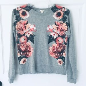 J Crew Gray and floral sweatshirt